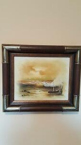 Vintage oil painting on canvas signed by artist Rumky