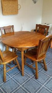 Rustic Oak table with Four Chairs