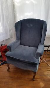 Blue wing back chair