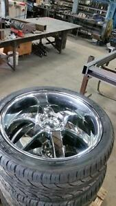 "24"" chrome BOSS rims with near new Falkens"