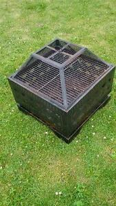 square fire pit with grill, mesh cover and leather tarp