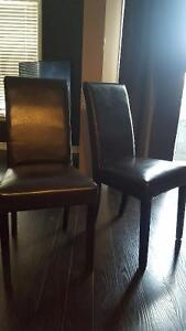 Espresso Faux Leather High Back Chairs x 2
