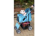 Pet 4 Wheels Travel Stroller Dog Cat Pushchair Trolley Puppy Jogger Folding Carrier (Blue)