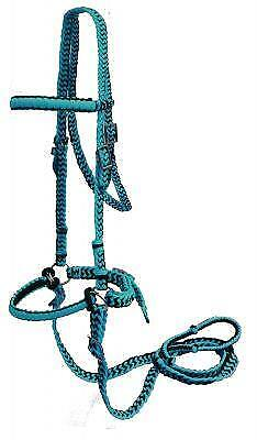 TEAL/BLACK Braided Nylon Bit Less Bridle with Reins! NEW HORSE -