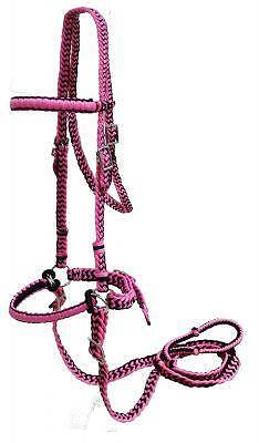 PINK/BLACK Braided Nylon Bit Less Bridle With Reins! NEW HORSE -