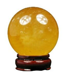 NATURAL CITRINE CALCITE QUARTZ CRYSTAL SPHERE BALL HEALING GEMSTONE 40MM A1
