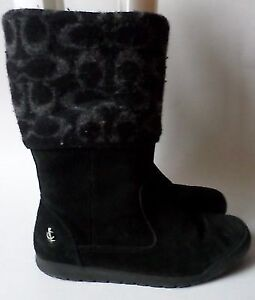 Authentic COACH Tatum Black Suede Boots With Wool Cuff Size 6.5