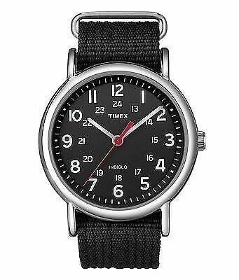 New Timex Men's Weekender T2N647 Black Nylon Quartz Watch