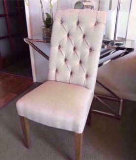 NEW Hampton French Provincial Style Linen Dining Chair Stud Beige