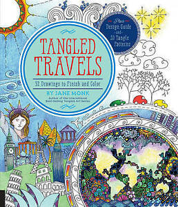 Tangled Travels: 52 Drawings to Finish and Color (Tangled Color and Draw),Monk,
