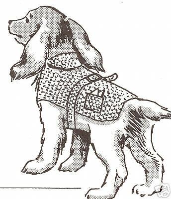 Vintage Crochet PATTERN to make Hooded Dog Sweater Coat Blanket Pocket All Size