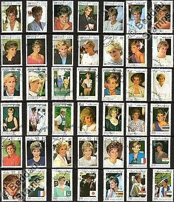 50 STAMPS - HRH DIANA Princess of Wales (Lady Di) Stamp / Minisheet Collection