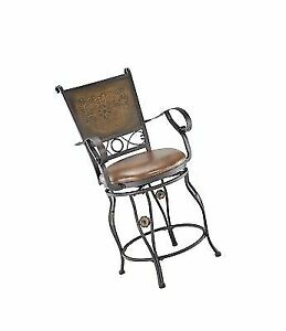 Surprising Powell Company Big And Tall Copper Stamped Back Counter Stool With Arms Creativecarmelina Interior Chair Design Creativecarmelinacom