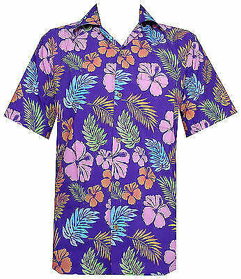- Hawaiian Shirt Mens Hibiscus Floral Leaf Print Beach Aloha Camp Party