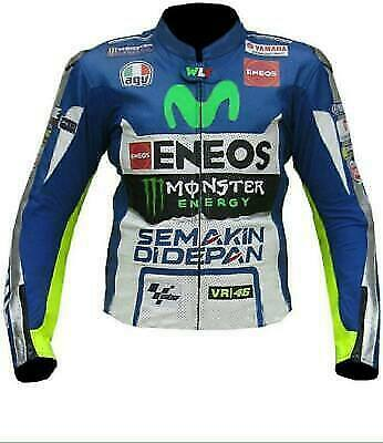Yamaha Racing Motorbike Leather Jacket In Pure Cow Hide/5 Ce Approved Protectors for sale  Shipping to Canada