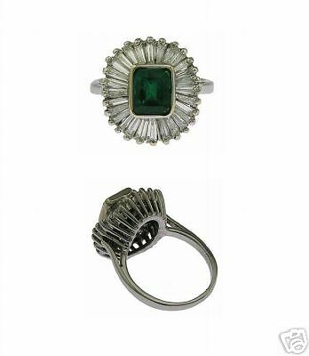 Estate 14Kt White Gold Diamond Emerald Ladies Ring