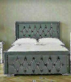 🔵💖🔴LOWEST PRICE OFFR 💖🔴HEAVEN PLUSH VELVET DOUBLE & KING SIZE BED FRAME & MATTRESSES