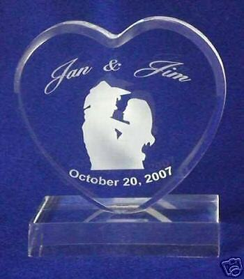 Western Heart Wedding Cake Topper Engraved Personalized