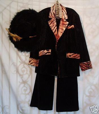Tiger Costume For Men (Black Velvet/ Tiger Pimp Costume - Men's)
