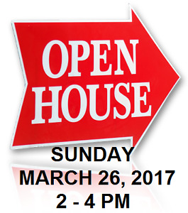 Join us for an Open House March 26 from 2-4 pm ONLY (NO Sat.)