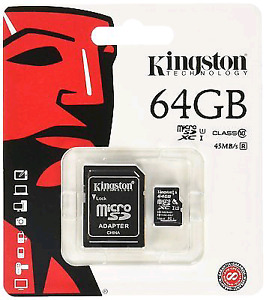 BRAND NEW SEALED Kingston 64 GB micro SD card with adapter
