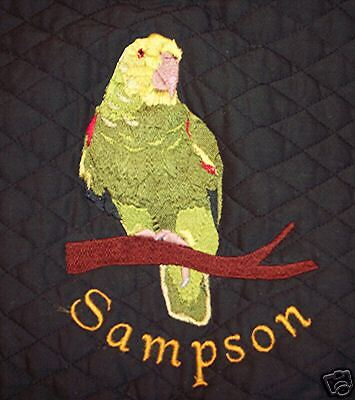 King sized, Embroidered, Denim parrot bird cage cover Double Yellow head Amazon