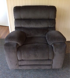 Brown suede fabric lounge suite sofa armchairs electric recliners Burwood East Whitehorse Area Preview