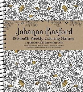 Image Is Loading JOHANNA BASFORD 2017 2018 COLORING WEEKLY PLANNER CALENDAR