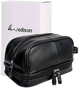 New. Mens pu leather shaving / travel bag