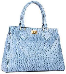 Blue Ostrich Handbag