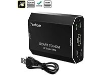SCART to HDMI Converter, Techole Aluminum SCART to 1080P/720P HDMI Audio Video Adapter with Gold