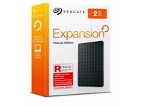 BRAND NEW SEAGATE 2TB Expansion Portable External Hard drive + 2Yrs Rescue Service (Retails £89.99)