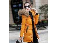 New Women fashion hooded warm long coat with thick fur collar_yellow, UK size 8 - 10