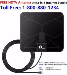 FREE ultra thin 1byOne HDTV antenna for any 2-in-1 internet bundle $29.99/month. Please call 1-800-880-1234 to order