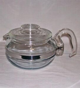 Pyrex coffee pot, tea pot, pie plates, pot