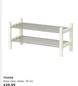 IKEA TJUSIG Shoe rack stand white, 79 cm Nundah Brisbane North East Preview
