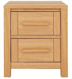 Home Mawsley 2 Drawer Bedside Chest - Oak Veneer