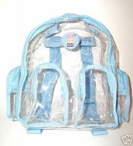 New-TRANSPARENT-SEETHRU-CLEAR-BABY-BLUE-Small-Backpack-handbag-bag