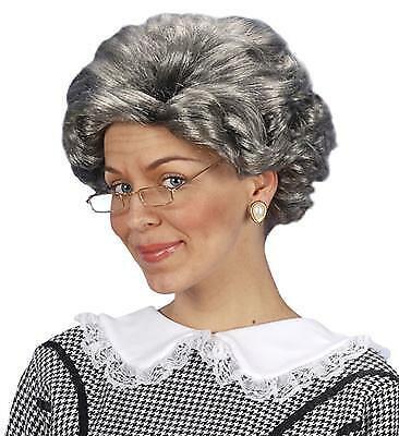 au grau gelockt Perrücke Karneval Grandma Kostüm (Alte Frau Perücke)