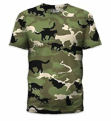 CATMOUFLAGE CATS CAMO ARMY CAMOFLAUGE KITTY COSTUME MENS T TEE SHIRT - Men Army Costume