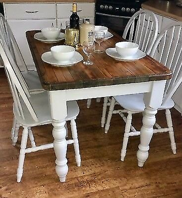 Farmhouse Country Style Dining Table And Chairs Refurbished In Farrow Ball Paint