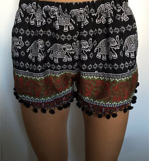 Elephant print loose shorts