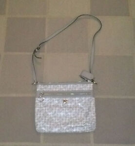 100% Authentic Coach purse messenger style (grey and white)