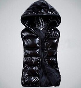 """NEW Hooded Puffer Vest, BLACK  fit size M chest 38"""""""