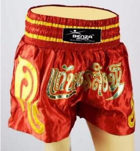 MUAY THAI SHORT RED/GOLD ONLY @ BENZA SPORTS