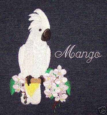 King sized, made to order, Denim, Embroidered parrot bird cage cover Cockatoo