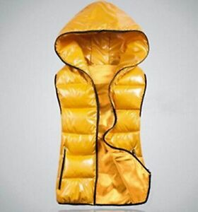 """NEW Hooded Puffer Vest, Yellow fit size M chest 38"""""""