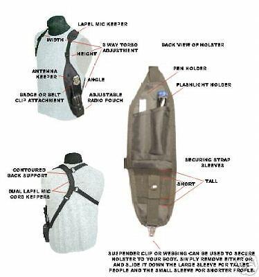 Secret Agent Style Shoulder Radio Harness for left handed 300-R.