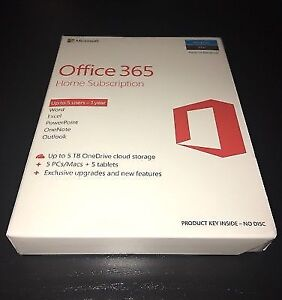 Office 365 Home Subscription-5 Users, Brand New!