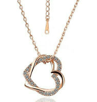Womens 9k Rose Gold Filled Heart Shape Necklace & Pendant